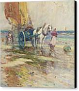 On The Beach  Canvas Print by Oswald Garside