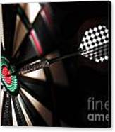 One Arrow In The Centre Of A Dart Board Canvas Print by Michal Bednarek