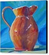 Orange Pitcher Still Life Canvas Print by Donna Tuten