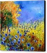 Orange Tree And Blue Cornflowers Canvas Print by Pol Ledent