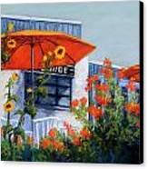 Orange Umbrellas Canvas Print by Candy Mayer