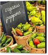 Organic Peppers At Farmers Market Canvas Print by Teri Virbickis