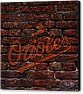 Orioles Baseball Graffiti On Brick  Canvas Print by Movie Poster Prints