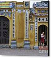 Ornate Buildings In The City Centre Of Hanoi Canvas Print by Sami Sarkis