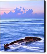 Outer Banks - Beached Boat Final Sunrise II Canvas Print by Dan Carmichael