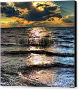 Outer Banks - Radical Sunset On Pamlico Canvas Print by Dan Carmichael