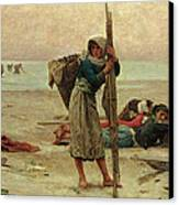 Oyster Catching Canvas Print by Pierre Celestin Billet