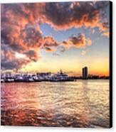 Palm Beach Harbor With West Palm Beach Skyline Canvas Print by Debra and Dave Vanderlaan
