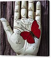 Palm Reading Hand And Butterfly Canvas Print by Garry Gay
