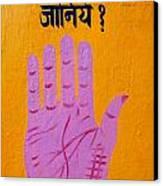 Palm Reading Sign In Rishikesh Canvas Print by Robert Preston