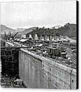 Panama Canal Construction 1910 Canvas Print by Photo Researchers