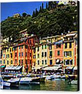 Panorama Of Portofino Harbour Italian Riviera Canvas Print by David Smith