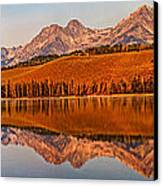 Panoramic Of Little Redfish Lake Canvas Print by Robert Bales