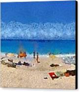Panoramic Painting Of Porto Katsiki Beach Canvas Print by George Atsametakis