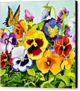 Pansies With Butterfly Canvas Print by Janis Grau