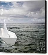 Paper Boat Canvas Print by Carlos Caetano