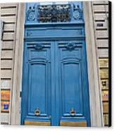 Paris Blue Doors - Paris Romantic Blue Doors - Paris Dreamy Blue Door Art - Parisian Blue Doors Art  Canvas Print by Kathy Fornal
