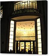 Paris Louis Vuitton Boutique Store Front - Paris Night Photo Louis Vuitton - Champs Elysees  Canvas Print by Kathy Fornal