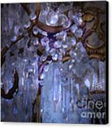 Paris Surreal Haunting Crystal Chandelier Mirrored Reflection - Dreamy Blue Crystal Chandelier  Canvas Print by Kathy Fornal