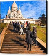 Paris - The Long Climb To Sacre Coeur Canvas Print by Mark E Tisdale