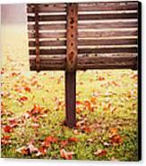 Park Bench In Autumn Canvas Print by Edward Fielding