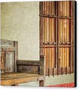 Part Of A Bench Canvas Print by Joan Carroll