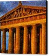 Parthenon On A Stormy Day Canvas Print by Dan Sproul