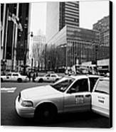 Passenger Gets Out Of Rear Door Of Yellow Taxi Cab On 7th Avenue New York City Usa Canvas Print by Joe Fox