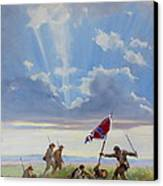 Passing On The Blood Stained Banner Canvas Print by Sandra Harris