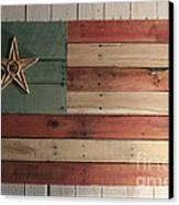 Patriotic Wood Flag Canvas Print by John Turek
