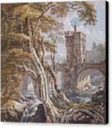 Pd.8-1976 View Of The Old Welsh Bridge Canvas Print by Paul Sandby