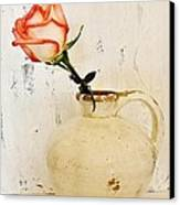 Peach Trim Rose In Pottery Canvas Print by Marsha Heiken