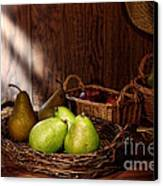 Pears At The Old Farm Market Canvas Print by Olivier Le Queinec