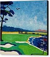 Pebble Beach 18 California Canvas Print by Lesley Giles