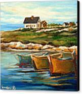 Peggys Cove With Fishing Boats Canvas Print by Carole Spandau
