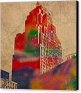 Penobscot Building Iconic Buildings Of Detroit Watercolor On Worn Canvas Series Number 5 Canvas Print by Design Turnpike