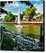 Pentwater Channel Michigan Canvas Print by Nick Zelinsky