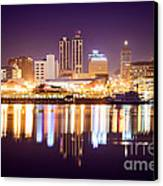 Peoria Illinois At Night Downtown Skyline Canvas Print by Paul Velgos