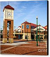 Peoria Illinois Riverfront Businesses And Clock Tower Canvas Print by Paul Velgos