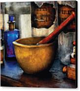 Pharmacist - Mortar And Pestle Canvas Print by Mike Savad