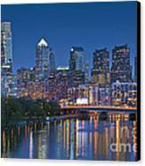 Phila Pa Night Skyline Reflections Center City Schuylkill River Canvas Print by David Zanzinger