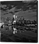 Philadelphia From South Street At Night In Black And White Canvas Print by Bill Cannon