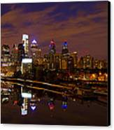 Philadelphia On The Schuylkill At Night Canvas Print by Bill Cannon