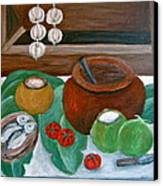 Philippine Still Life With Fish And Coconuts Canvas Print by Victoria Lakes