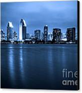 Photo Of San Diego At Night Skyline Buildings Canvas Print by Paul Velgos