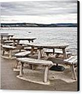 Picnic Tables Canvas Print by Tom Gowanlock