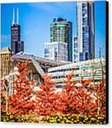 Picture Of Chicago In Autumn Canvas Print by Paul Velgos