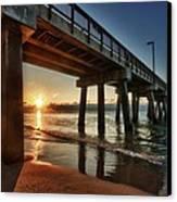 Pier Sunrise Canvas Print by Michael Thomas