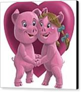 Pigs In Love Canvas Print by Martin Davey