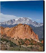 Pikes Peak Behind Garden Of The Gods Canvas Print by Ernie Echols